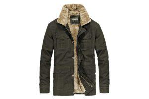 Heihuohua Men's Winter Fur Collar Trucker Jacket