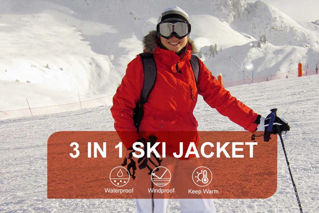 PTSOC Women's Winter 3-in-1 Waterproof Ski Jacket
