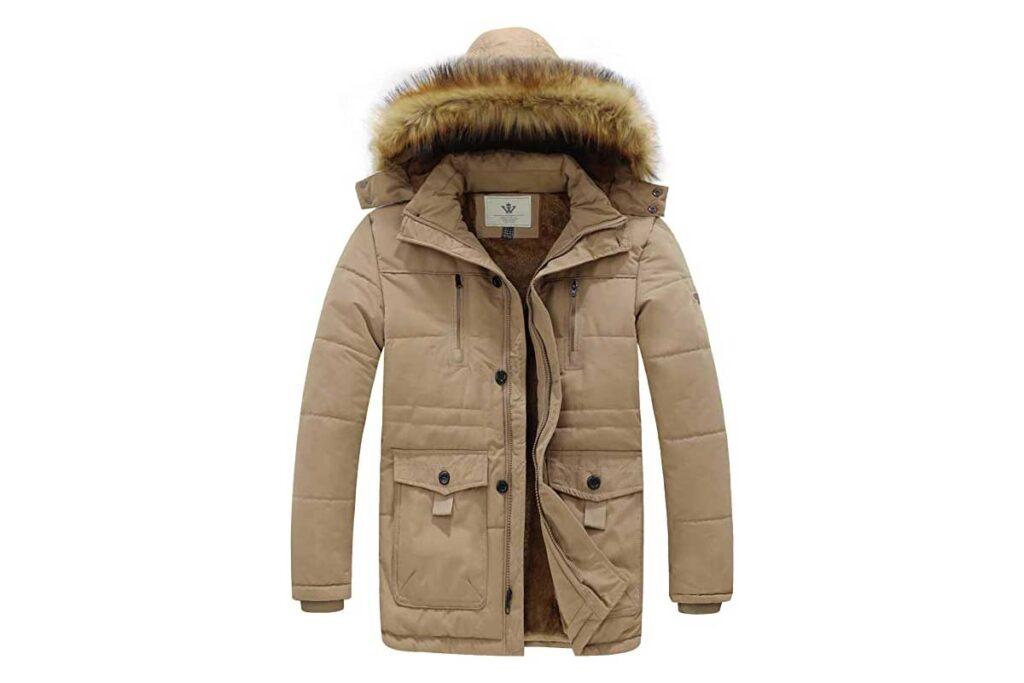 WenVen Men's Hooded Warm Winter Parka Jacket